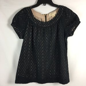 Short Sleeve Black Eyelet Lace Nude Blouse